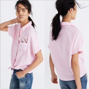 Madewell pink tie front shirt top